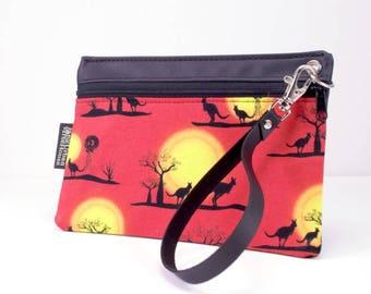 Kangaroo coin purse. Vegan zippered pouch. Phone wristlet. Travel wallet.Vinyl clutch with removable strap. Australian souvenir.