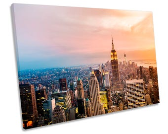 New York City Skyline Sunset CANVAS WALL ART Box Framed Print Picture