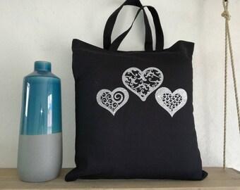 """""""Love"""" black cotton tote bag"""