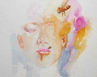 Honey bee watercolor study 8x10