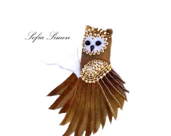 Textile Owl bird brooch