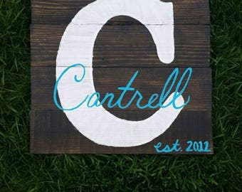 Last name personalized wooden sign