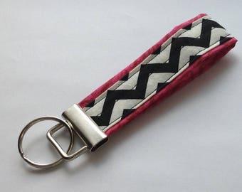 wristlet keychain key fob key ring  fabric keychain women's girls accessories-  chevron designer fabric