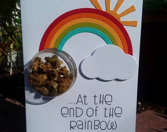 Pot at the End of the Rainbow - Encouragement Cannabis Greeting Card