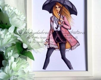Rainy Days And Long Coats Fashion Illustration Print