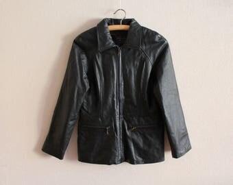 Black Leather Jacket Vintage Leather Jacket 80s Women's Bomber Jacket Black Leather Cardigan Zip up Hippie Biker Rocker Jacket Medium Size