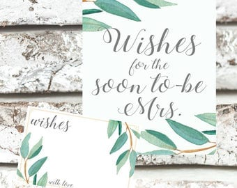 Eucalyptus Bohemian Wishes for Soon to be Mrs Sign | Boho Herbal Advice Bridal Shower Cards | Greenery Leaf  Printables | EUC1174
