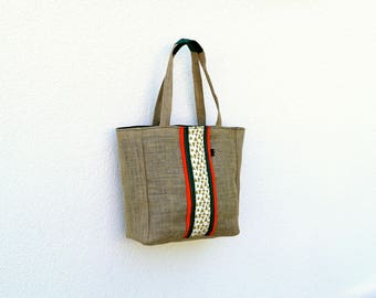 Green and coral burlap Tote