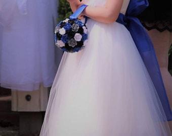 Wedding Flower Girl, Paper Flower Bouquet, Bridesmaid Bouquet, Paper Flower Ball, Artificial Flower Bouquet,Wedding Centerpiece,Center Piece