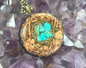 Orgone Protector Pendant with Turquoise and Copper Nuggets