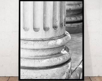 antique column, column print, roman column, column photography black white photography