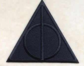 Harry Potter Deathly Hallows Logo Iron On Patch #All Black