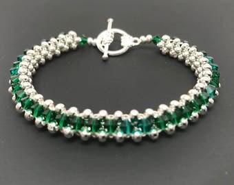 Swarovski Crystal Bracelet, Swarovski Bracelet, crystal bracelet, silver bracelet, beaded bracelet, woven bracelet, emerald bracelet