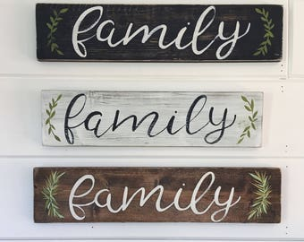 "Hand Painted ""Family"" Sign // Fall Decor // Easter Sign // Easter Decor // Thankful Sign // Spring Decorations // Spring Quote"