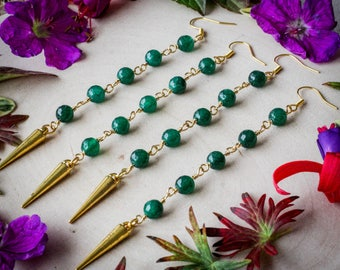 Gold Icicle Earrings with Green Agate Beads, Gold Plated //Bohemian, Boho, Gypsy, Gypset, Christmas Jewelry, Jewellery