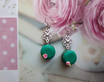 Emerald Green delicious macarons in polymer clay earrings / gift idea
