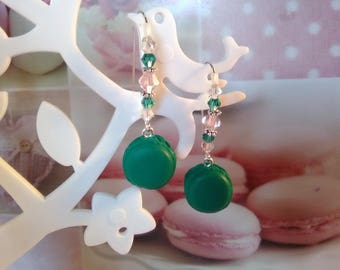 Emerald Green macarons in polymer clay earrings and beads / gift idea