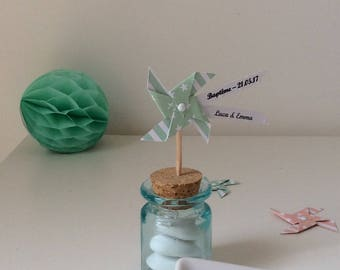 Little windmill green water printed on sheer gift wooden sweets...