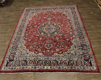 Beautiful Handmade Vintage Signed Mashad Persian Rug Oriental Area Carpet 8X11