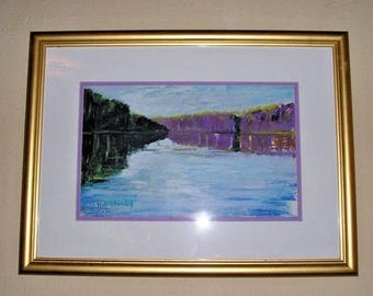 William Ward Moseley Oil Pastel Painting #317 Unusual Cove Matted and Framed