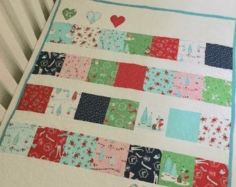 Cot Quilt, Crib Quilt, Christmas Baby Quilt, Elf Pixie Quilt, Red Green Aqua, Baby First Christmas, Cot Blanket, Mini Crib Quilt