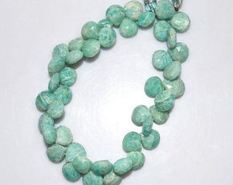 50% OFF 1 Strand Amazonite Faceted Heart Shape Beads - Amazonite Briolette , 8.5x8.5 - 9.5x9.5 mm , 8 Inch Strand , BL1769