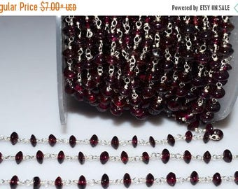 50% OFF Beautiful Garnet Rosary Beaded Chain-Garnet Button Silver Wire Wrapped Chain , 4-4.50 mm - RB5108