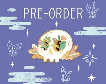 PRE-ORDER Crystal Floral Skull // Hard Enamel Lapel Pin