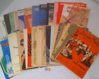 Lot of 33 Old Time Sheet Music Books, 1920s to 1950s, Thin Music Songs, Books, Piano Mostly, Paris, Older Sheet Music Books