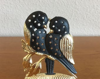 Vintage Torino Black and Gold Toned Earring Stand- Torino Love Birds Earring Holder