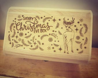 Personalised Luxury Wooden Christmas Eve Box - Engraved Heart Reindeer Design.