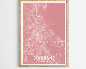 Brisbane Area Map Print - Various Colours / Australia / City Print / Australian Maps / Giclee Print / Poster
