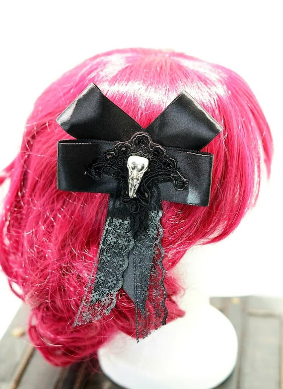 Gothic silver raven victorian black bow hairpin brooch / black bow with silver Raven Schaedelchen hair clip and brooch