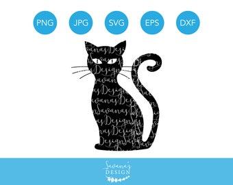 Black Cat SVG, Halloween Cat SVG, SVG Cat, Cat Svg File, Cat Svg Designs, Cat Svg Silhouette, Cat Dxf, Cat Png, Cat Svg, Cat Cut File