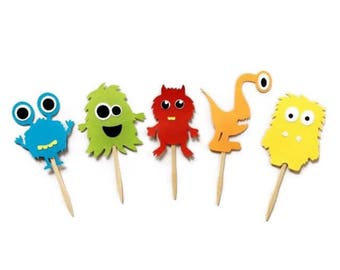 Monster cupcake toppers , Monster party , Monster birthday , Little Monster cupcake topper , Monster party decorations , Monster