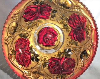 """Antique Red and Gold Goofus Glass 9"""" Bowl - Early 1900s"""