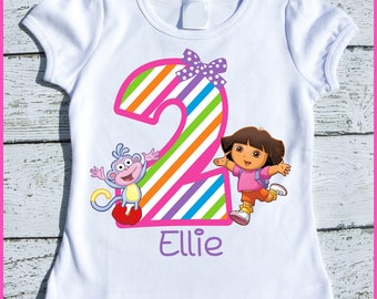 Custom Personalized Girl Dora and Boots Birthday tee shirt