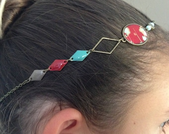 Head band bronze, enamel and Red Japanese paper flowers.
