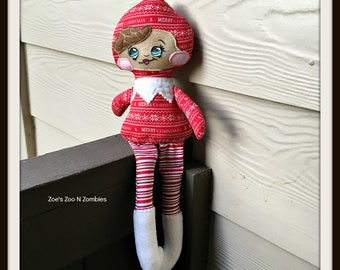 Handmade Enchanted Red Elf Cloth Doll Girl Scout Elves Whimiscal Huggable Toy