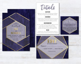 Navy and Gold Geometric Wedding Invitation Suite, Wedding Suite, Navy Blue, Blue DIY Printable Suite, Geometric, Navy, Blue, Gold (Edie)