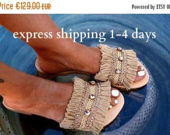 20% OFF NIRVANA sandals/ Boho Sandals/ boho slides /gold Sandals/ wedding sandals/ fringed slides/ swarofski sandals