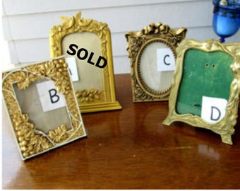 REDUCED  Vintage Gold Table Top Picture Frames  68