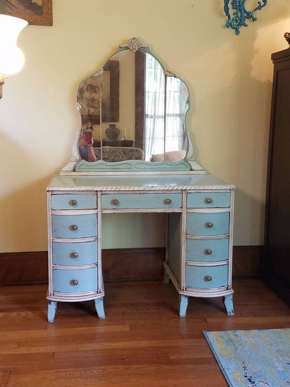 RESERVED FOR SONYA - Antique Vanity Table with Mirror in Serenity Blue and Linen White - Vintage Shabby Chic