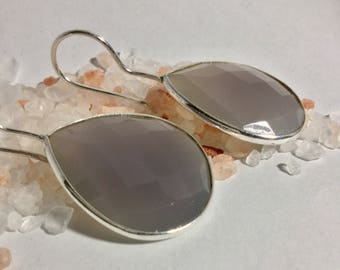 Large Grey Moonstone drop shaped earrings/french wire/wire/Sterling silver/earrings/Moonstone/Platinum Moonstone/Moonstone earrings
