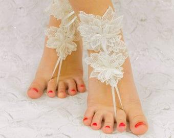 Beach wedding shoes etsy wedding shoes for bride anklet foot anklet sandals lace sandals bridal sandals junglespirit Choice Image