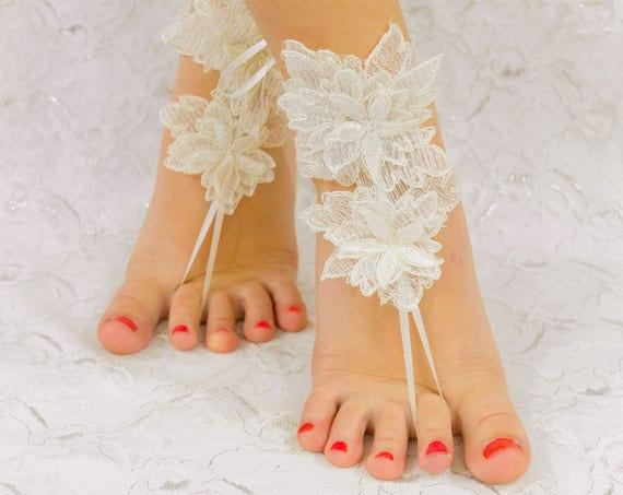 Beach Wedding Barefoot Sandals, Anklet Sandals, Lace Sandals, Bridal Sandals, Bridesmaid sandals, Beach Wedding Shoes, MarrietDress 06