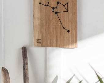 Sagittarius Constellation Picture -Wooden handmade - Woodworking - Wood - Sign - Wall Art- Custom - Personalized - Gift - 11 cm x 14 cm