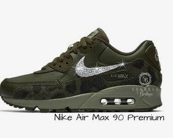 Womens Nike Air Max 90 Premium - Swarovski Nike - BLING Nike - Bedazzled - Green/Khaki - Sparkly Nike - Bedazzled - Nike Bling