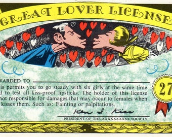 1964 Topps Nutty Awards #27 Great Lover License Jack Davis Art Card