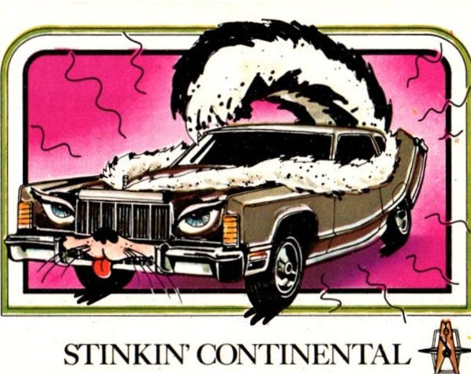 1976 Wonderbread Crazy Cars Stinkin' Lincoln Continental Trading Card
